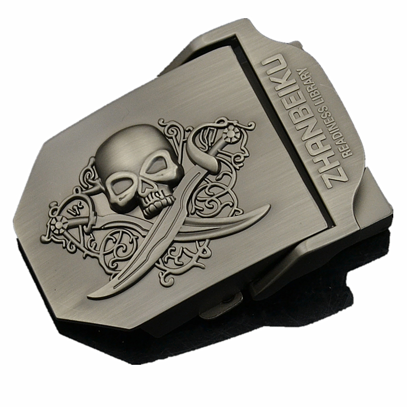 Double Sword Skull Men's Tactical Belt Buckle Suitable For Military Canvas Body Width 3.8cm Personalized Punk Outdoor Equipment