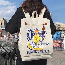 Women Backpack Retro Street Printing Shoulder Bags Nylon Waterproof School Backpacks Fashion Trend