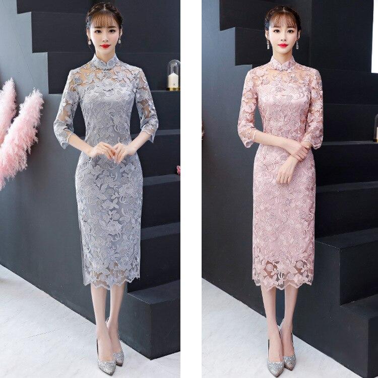 2020 Mandarin Collar Sexy Lace Flower Cheongsam Chinese Wedding Party Bride Qipao Full Length Elegant Chinese Dress Qipao