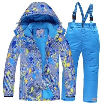 Dziecięcy kombinezon narciarski dla dzieci narciarstwo kurtka termiczna zestaw spodni wodoodporne wiatroszczelne ciepłe dziewczyny chłopcy narciarstwo zimowe snowboard Snow Suit tanie i dobre opinie COTTON Poliester Waterproof Windproof Warm Kids Ski Suit Kurtki Z kapturem Skiing Pasuje prawda na wymiar weź swój normalny rozmiar