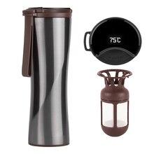 トラベルマグモカスマートコーヒータンブラー430ミリリットルポータブル真空ボトルoledタッチスクリーン魔法瓶ステンレス鋼のコーヒーカップ