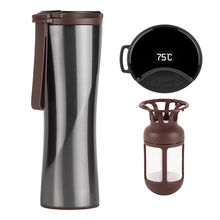 Travel Mug Moka Smart Coffee Tumbler 430ml Portable Vacuum Bottle OLED Touch Screen Thermos Stainless Steel Coffee Cup