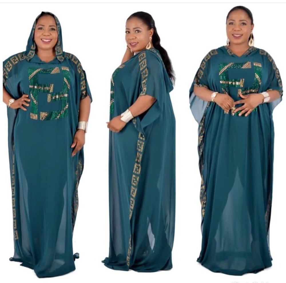 African Dashiki Dress Beading Chiffon Bat Sleeve Bazin Muslim Abaya Long Maxi Robe Gowns Women's Clothes Sexy Rich Evening Party