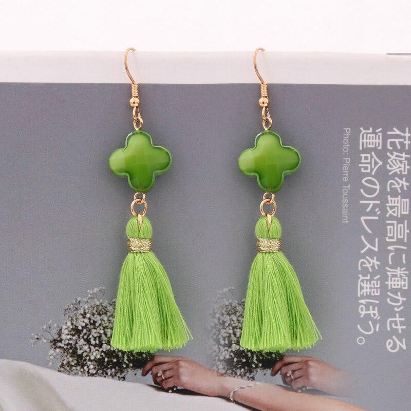 Oorbellen Four Leaf Crystal Earrings For Women Bohemian Tassel Earring Ear Hook Pendants Statement Jewelry Gifts Korean Fashion