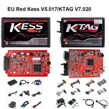 Kess V2 V5.017 Online Version No Tokens Limitation KTAG V7.020  EU Red ECM OBD2 Manager Tuning Kit Auto Truck ECU Programmer 1