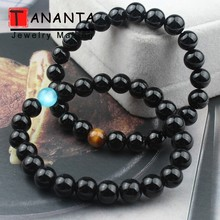 Natural Black Stone Beaded Bracelet Agates Lava Hematite Beads  Jewelry Charm Men Bangle For Women Lovers Gift Fashion