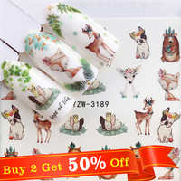 WUF 1 PC Deer Flower Water Transfer Nail Art Sticker Beauty Decal Nails Art Decorations
