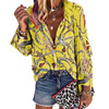 2020 New Design Plus Size Women Blouse V-neck Long Sleeve Chains Print Loose casual Shirts Womens Tops And Blouses 2