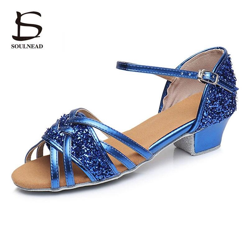 Latin Dance Shoes Girls Glitter Children Women Salsa Tango Dance Shoes Ballroom Dancing Shoes For Kid Soft Sole Performance Shoe