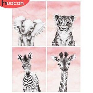 Huacan 5d diy diamante bordado elefante tigre broca cheia diamante pintura animal casa decoação presente