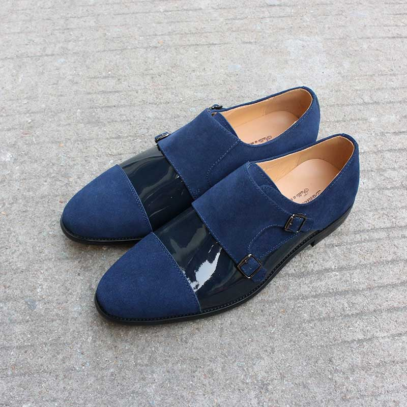 Handmade Shoes Party Wedding Classic Elegant Men Shoes Blue Monk Strap Buckle Luxury Oxford Patent Classic Footwear Dropshipping