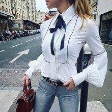 Lantern Sleeve Elegant OL  Ruffles Bow Tie Shirt Women Button Down Blouse Tops S-XXL Plus Size