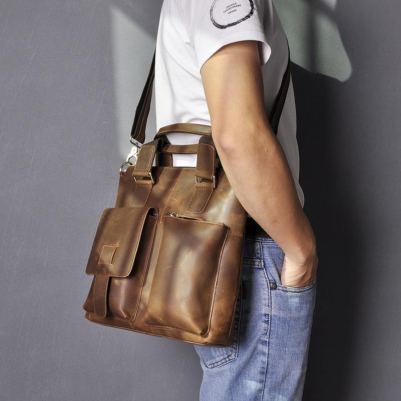 """He426df669c114c368448e133429f28d2J Men Original Leather Retro Designer Business Briefcase Casual 12"""" Laptop Travel Bag Tote Attache Messenger Bag Portfolio B259"""