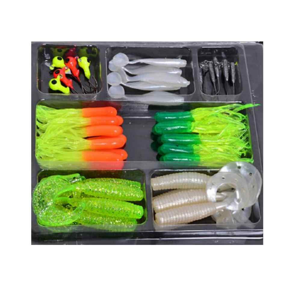 Dsstyles Hot Koop Willekeurige Kleur Fishinglure 35Pcs Soft Worm Fishing Baits + 10 Lood Jig Head Haken Simulatie Lokt visgerei Set