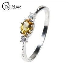 Anel de prata de cristal amarelo natural da forma do anel do citrino da categoria de vvs 4mm * 6mm anel de prata do citrino da joia 925 de colife para o uso diário