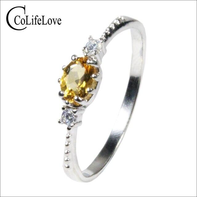 CoLife biżuteria 925 srebrny pierścień cytrynowy na odzież na co dzień 4mm * 6mm naturalny VVS klasy cytryn pierścień moda żółty kryształ srebrny pierścień