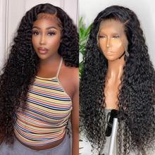 Virgo 30 Inch Krullend Menselijk Haar Pruik Diepe Golf Pruik 13*4 Lace Front Human Hair Pruiken Met Baby haar 4X4 Vetersluiting Pruik Remy
