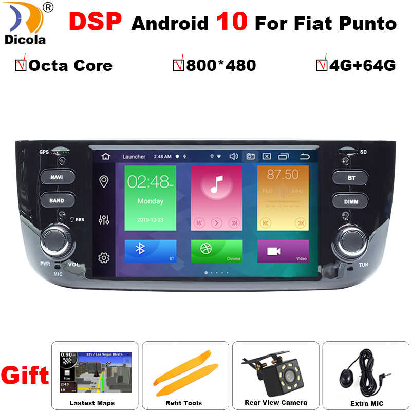 4G + 64G PX5 DSP Android 10 Mobil Dvd Player untuk Fiat Punto 199 310/LINEA 323 2012 2013 2014 2015 2016 Radio GPS WIFI TPMS USB SD