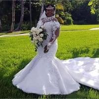 African Plus Size Mermaid Wedding Dresses High Neck Long Sleeves Appliques Beaded Wedding Dress Indonesia Vestido De Noiva