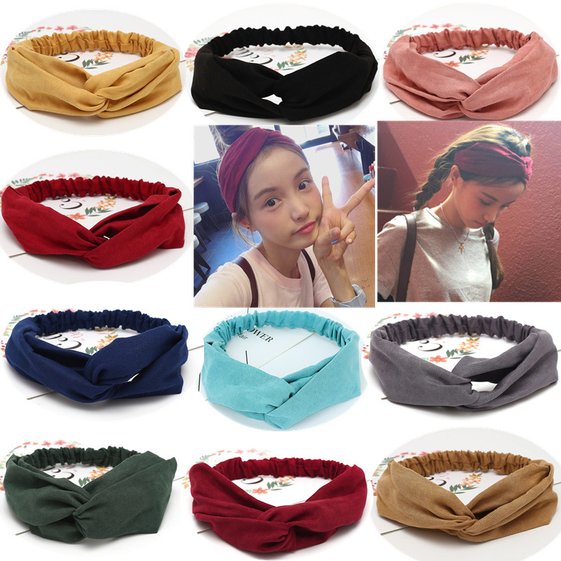 Women Suede Solid Headbands Turban Knot Elastic Hairbands Girls Knot Headdress Hair Wrap Accessories Princess Scrunchie Clips