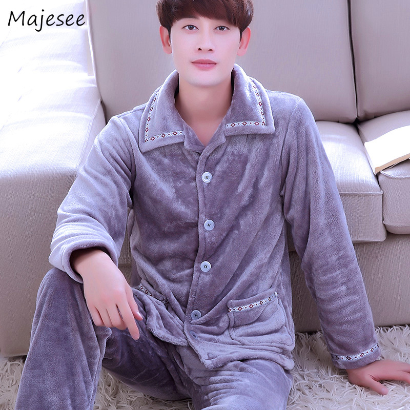Pajama Sets Men Winter Turn-down Collar Thicker Mens Long Sleeve All Match Korean Style Home Clothing Plus Size Males Harajuku