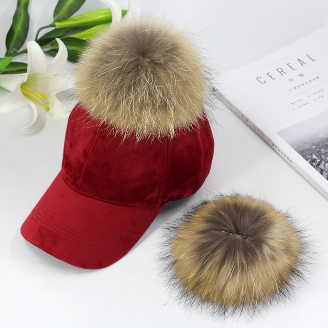 New brand baseball caps 2020 winter cap for women Real fur pompom ball cap Adjustable Casual Snapback hat cap 2