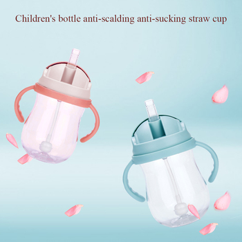 300 Ml Suction Cups Milk Straw With Handles Babies Training Feeding Bottle Silicone Drinking Wide Mouth Water Leakproof new arrival feeding bottles cups for babies kids water milk bottle soft mouth duckbill sippy baby feeding bottle infant training