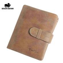 BISON DENIM Genuine Leather Male Wallets Vintage Credit Card Holder Wallet for Men Short Zipper Coin Purse Portomone W4401