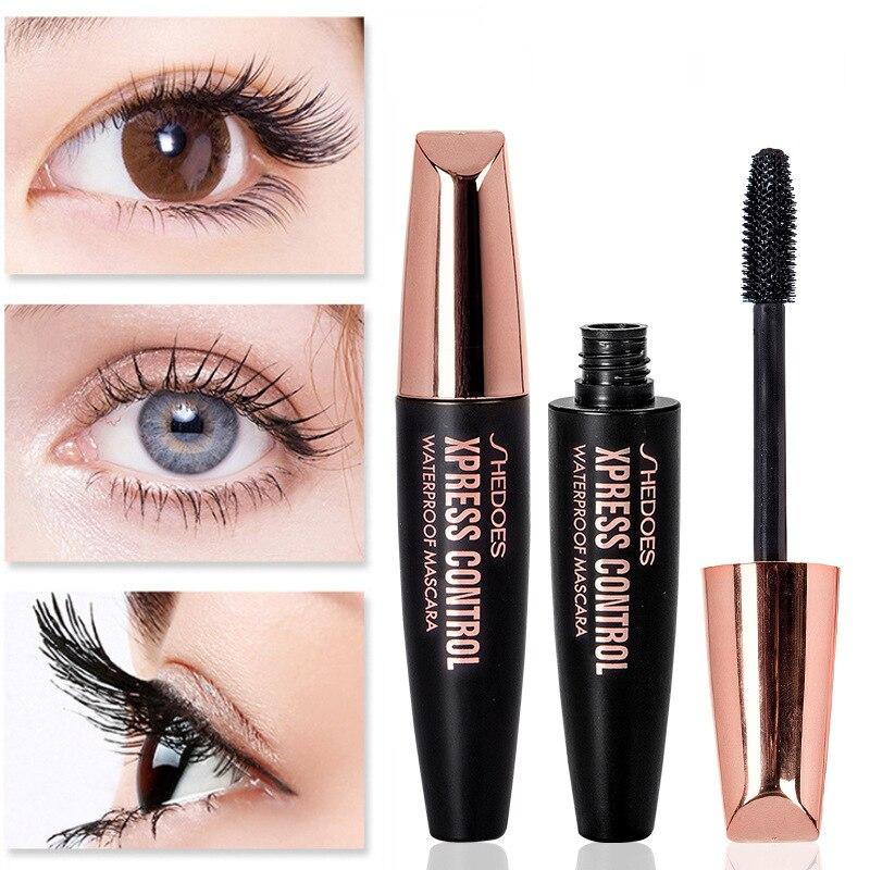 Waterproof Makeup Eyelash Mascara 4D Silk Fiber Eyelash Makeup Thick Lengthening Eye Lashes Mascara Natural Korean Cosmetics