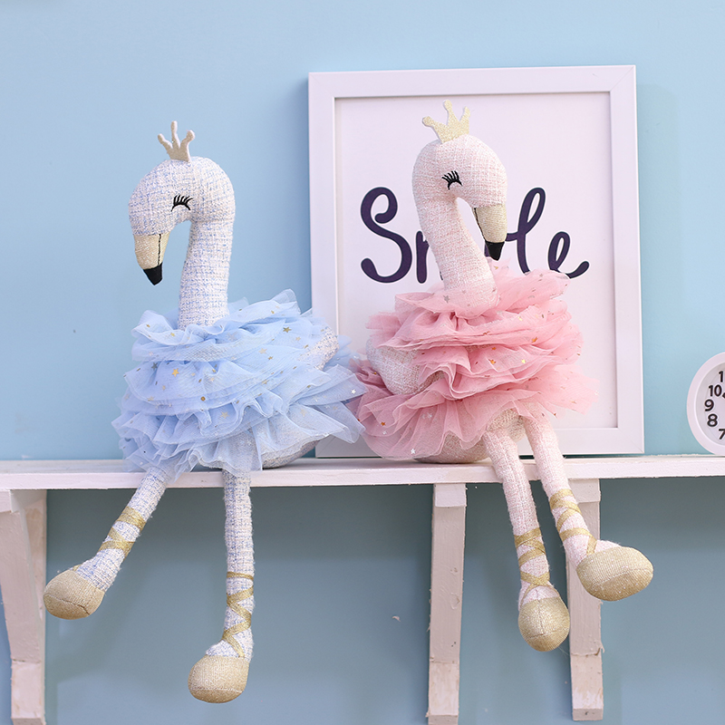 Cotton Rope Elegant Swan Toy 45cm Stuffed Crown Swan Soft Doll Girls Toy Home Decoration Toys Birthday Gift For Girlfriend