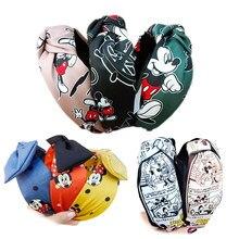 Mickey bandana bowknot cabelo hoop moda ampla-brimmed tecido hairpin high-end cabeça caverna acessórios de cabelo meninas bandana