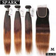 Spark 3/4 Bundles with Closure Peruvian Ombre Straight Human Hair Bundles With Closure Free/Middle Part Remy Hair Medium Ratio