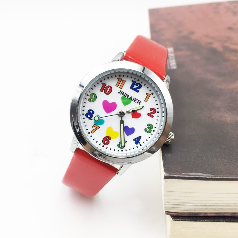 Colorful Heart Cartoon Kids Watches Girl Analog Quartz Watch Red PU Leather Children Student's Wristwatch Gift Relojes Kol Saati