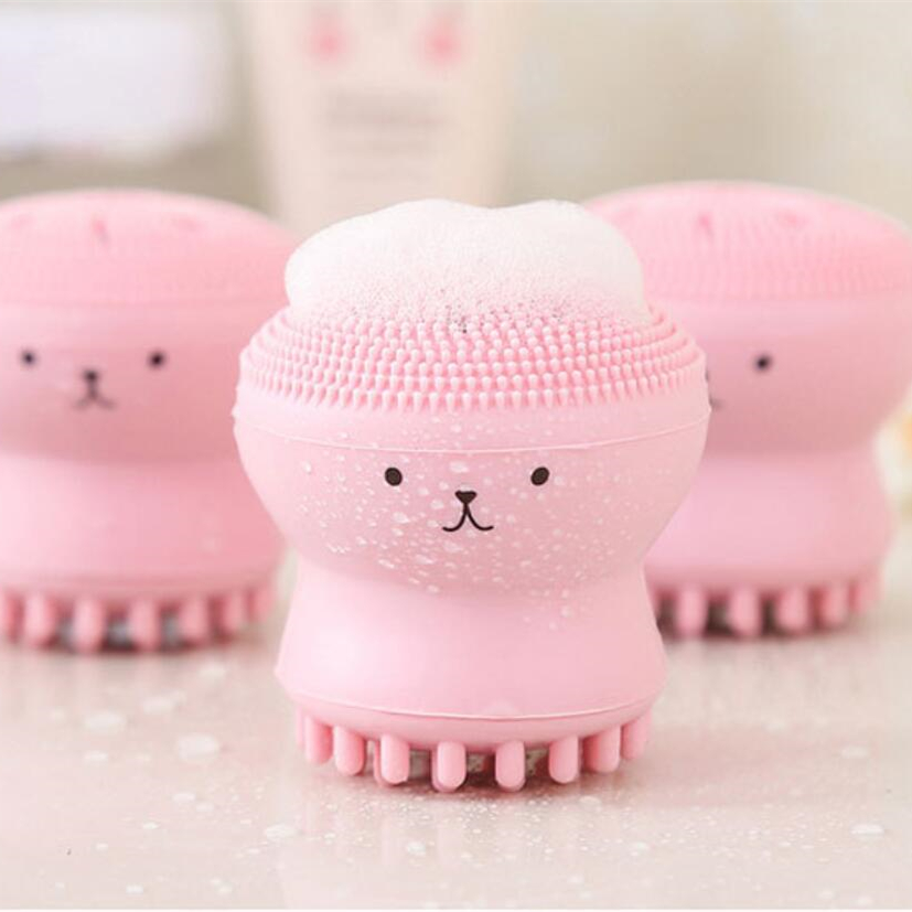 Cute Octopus Shape Soft Silicone Cleaning Brush Deep Pore Cleaning Exfoliator  Washing Brush Skin Care Tool Non - Toxic Portable