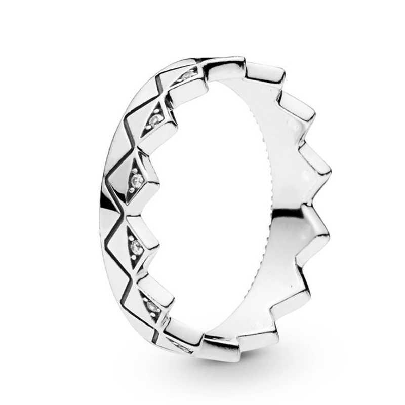 แปลกใหม่หิน & Stripes แหวนเงิน/ทองคริสตัล Fine แหวนผู้หญิงเครื่องประดับครบรอบหมั้นของขวัญ anillos mujer