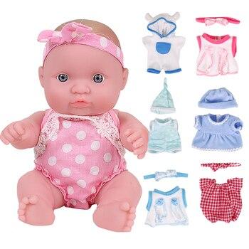 цена на 8 inch Newborn Doll Toy Lifelike Bebe Dolls Full Silicone Rubber Body Kids Playmate Rebron Baby Toys For Girls Birthday Gift