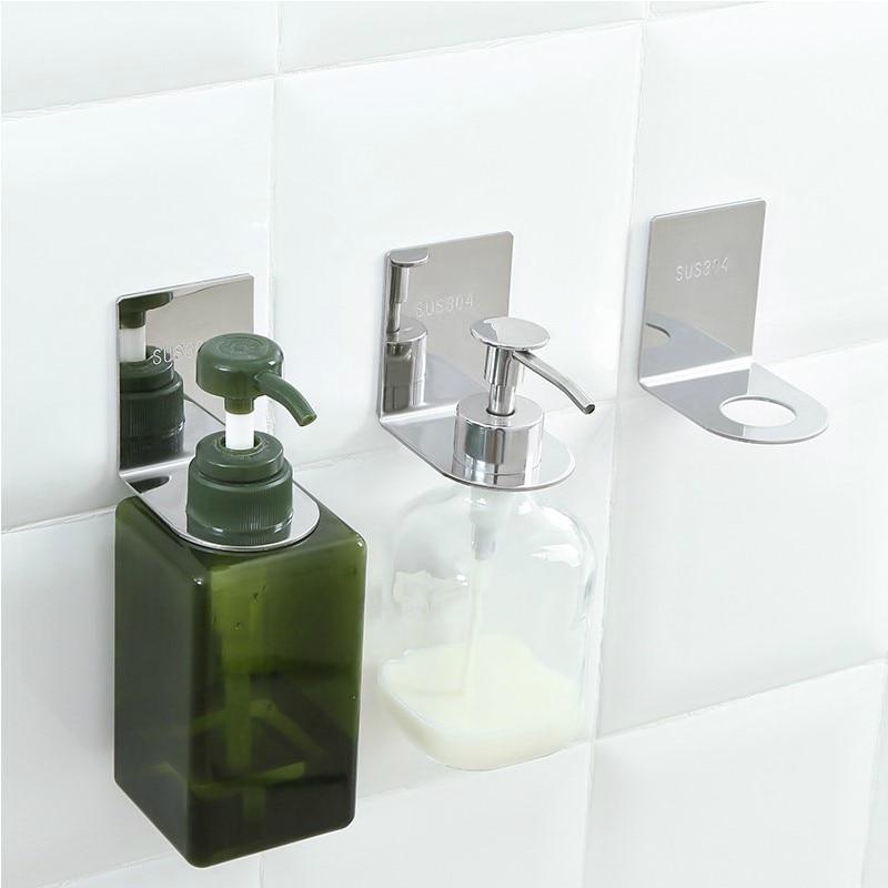 1pc Stainless Shampoo Holder Wall Mounted Shower Bottle Hanger Storage Rack for Bathroom Free Punching
