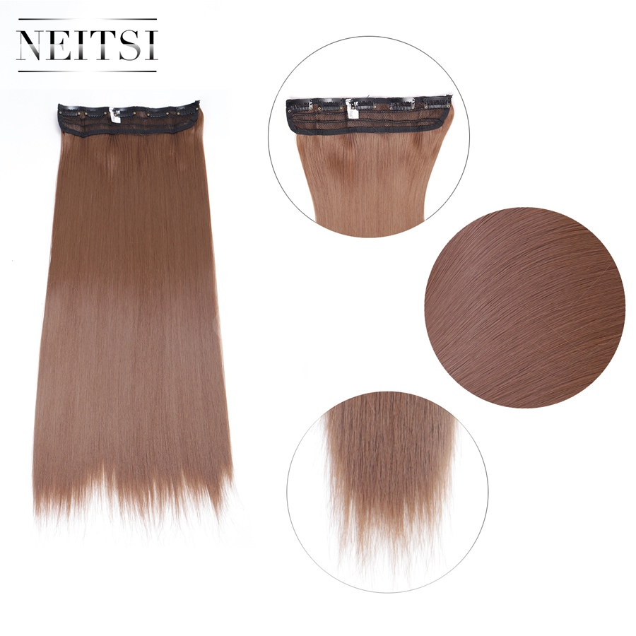 Neitsi 20 5 Clips One Piece Synthetic Clip In Hair Long Straight False Hairpieces For Women