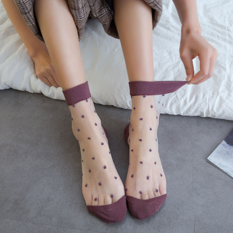 2020 Women's Spring Breathable Transparent Mesh Polka Dots Socks Sexy Ladies Net Yarn Fishnet Dots Socks Female Hosiery Sox(China)