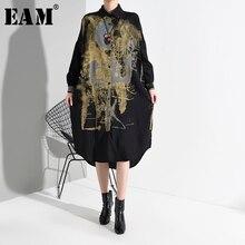 [EAM] נשים שחור להג הדפסת פיצול גדול גודל חדש שמלת חולצה דש ארוך שרוול Loose Fit אופנה האביב סתיו 2020 1M92501