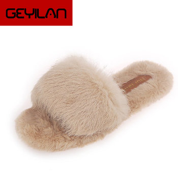 Women House Slippers Ladies Soft Bottom Winter Women's Shoes Short Furry Plush Woman Casual Female Fashion Home Footwear