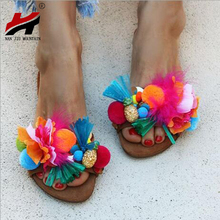 NAN JIU MOUNTAIN Summer Womens Flat Slippers Fame Style Fringe Hair Ball Color Feathers Outdoor Sandals Plus Size