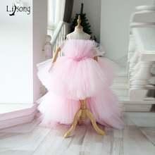 Детское розовое Пышное Платье пачка с оборками многослойной