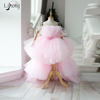 2019 Baby Pink High Low Ruffles Tutu Pageant Dresses For Girls Real Picture Tiered Tutu Kids Ball Gowns Flower Girl Dress lovely lace flower girl dresses hi low jewel neck pink long sleeve pageant dresses fluffy tiered satin girls pageant dress