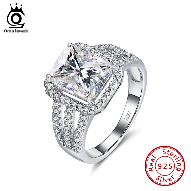 ORSA JEWELS Exquisite Cocktail Ring 8mm Square Cut Cubic Zircon  Exaggerated Design Finger Accessory Jewelry For Tarty SR177