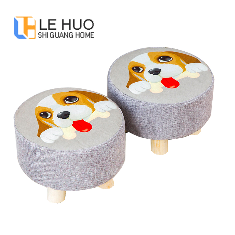 Fabric Stool Round Stool Wooden Soft Chair Upholstered Footstool Fashion Home Sofa Chair Comfortable Small Kids Stool