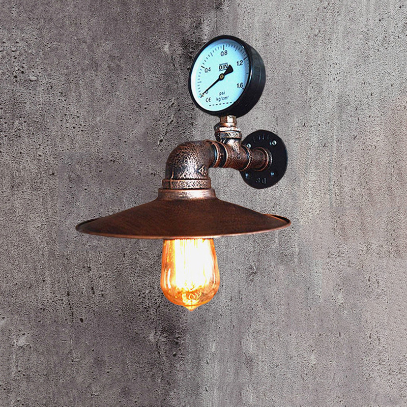 LOFT โคมไฟเลียนแบบท่อ E27 ผนังโคมไฟห้องนอนร้านอาหาร PUB Cafe Bar ทางเดิน Retro Wall sconce bra-ใน โคมไฟผนัง จาก ไฟและระบบไฟ บน title=
