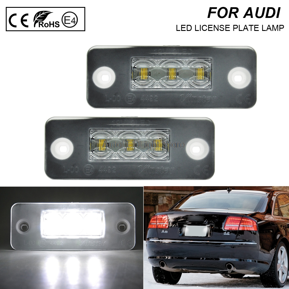 2 pieces Led License Plate Light Number Plate lamp Auto Tail Light White LED Bulbs For Audi A8 D3 2002-2010