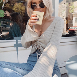 Cryptographic Fashion V-Neck Drawstring Ruched Female Crop Tops Casual Long Sleeve Striped Blouses for Women 2021 Autumn Winter