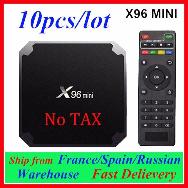 Европа Доставка из Испании Франция 10 шт X96mini Smart TV BOX X96 Mini Android 7,1 Amlogic S905W 2,4G WiFi телеприставка